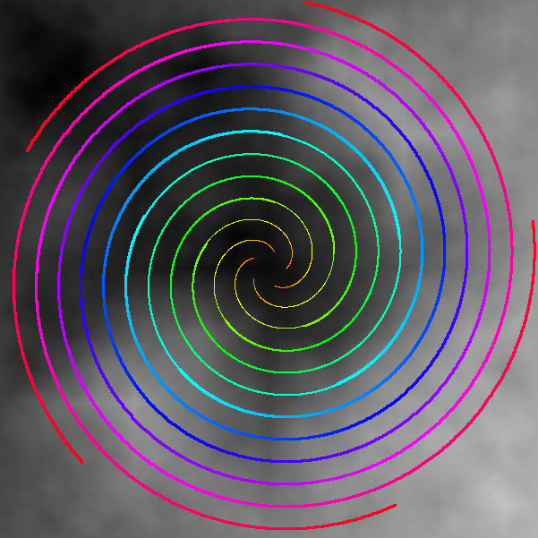 C++ Bitmap Library Archimedean Spirals - By Arash Partow